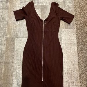 Iris brown zipper tight dress vintage 60's style